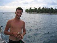 Ich vor karibischer insel aufm boot