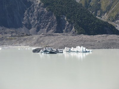 Large bits of ice that have broken off Tasman Glacier