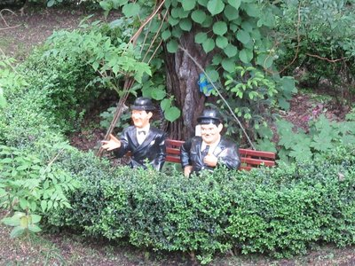 Stan Laurel and Oliver Hardy in our front yard