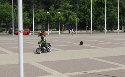 Motorcycle rally in parade ground