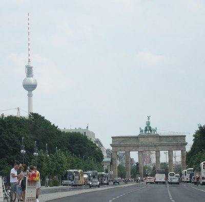 Brandenburg Gate with TV tower in background