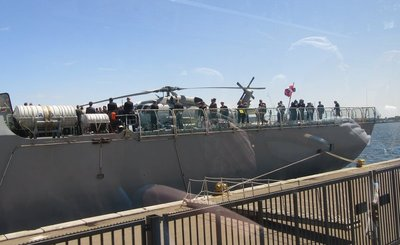 Danish Navy ship with helicopter on board