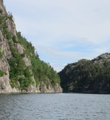 Cliff face by fjord
