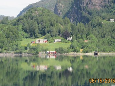 Close up of town on fjord