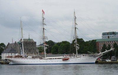 Three mast ship in harbour
