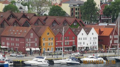 Close up of water front Bryggen buildings