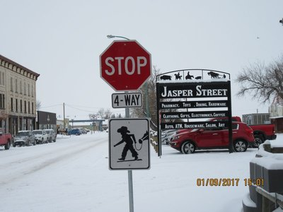Sign at intersection in Maple Creek, SK