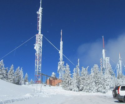 Communication towers on top of Sandia Crest