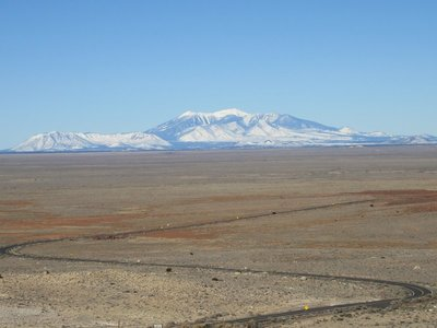 San Francisco Peaks from Meteor Crater