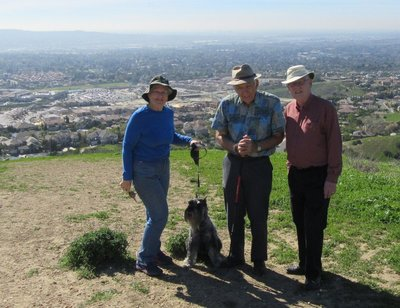 Marilyn, Piper, Vergil and Art on hike in Chino Hills State Park