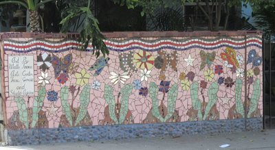Close-up of decorated fence