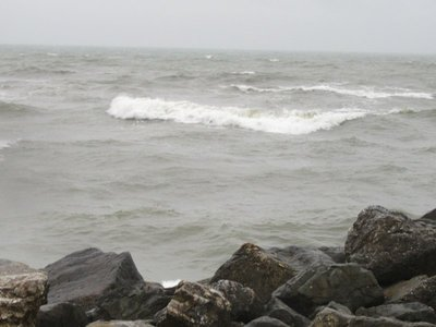 Pacific Ocean on a rainy day
