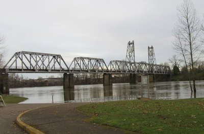Willamette River overflowing its banks