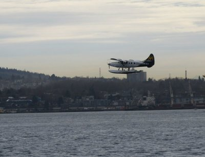 Seaplane takes off