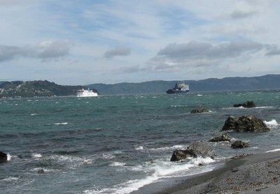 Bluebridge Ferry and Interislander meet in Wellington Harbour