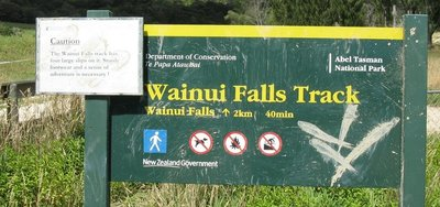 Wainui Falls sign