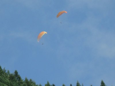 Paragliding from top of gondola ride