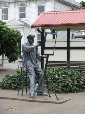 Street artist sculpture in Akaroa