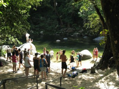 Visitors swimming in Mossman River