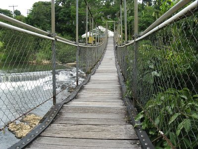 Suspension bridge at Mena Creek