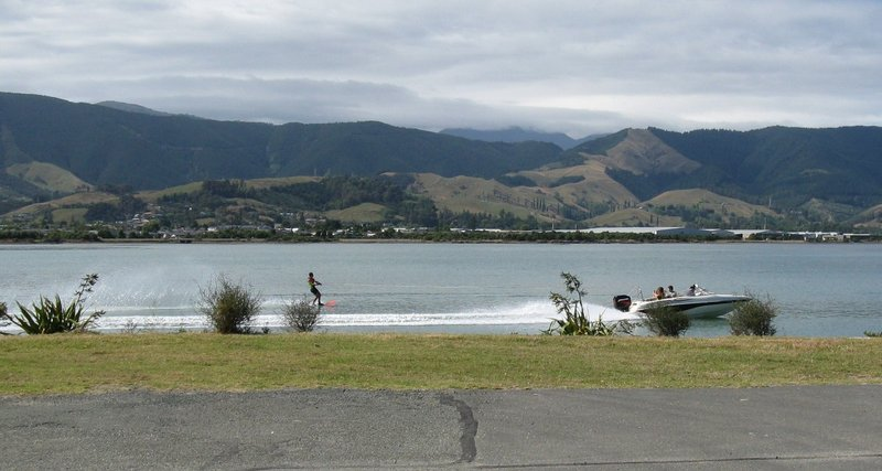 Water skiing picture taken from our driveway in the morning