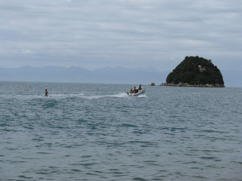Water skiing at Split Apple Rock Beach