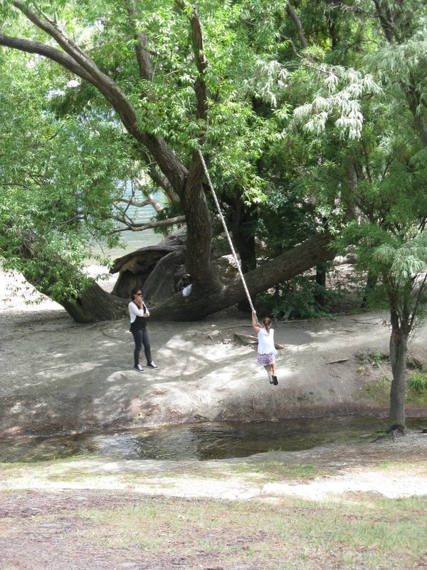 Girl enjoying swing over creek in park