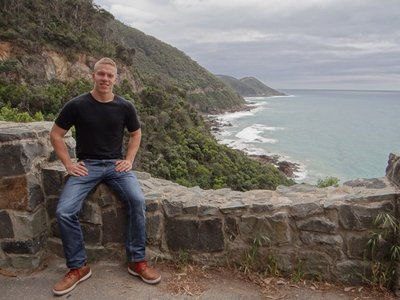 Me in front of the Great Ocean Road