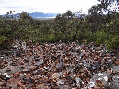Many little rock statues