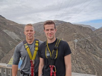 Last Picture before Nevis Bungy Jump with Tom