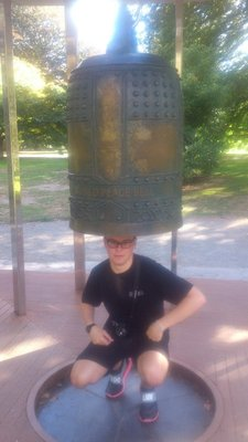 Coco underneath the 400Kg Peace Bell