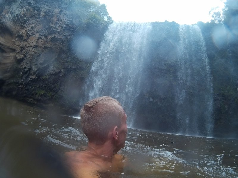 Going for a swim at Dangar Falls