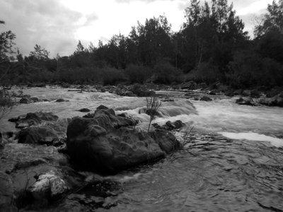 Camping river rocks