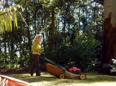 charlotte cutting grass