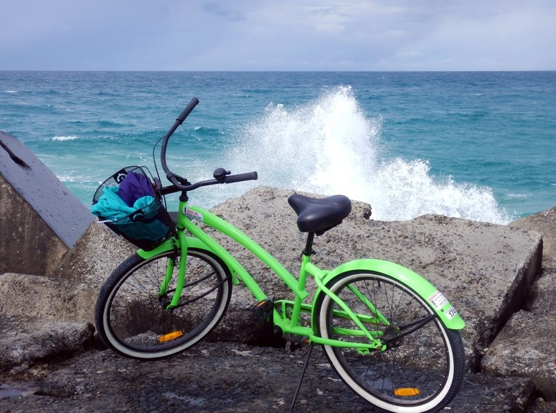 Bike with waves at The Spit
