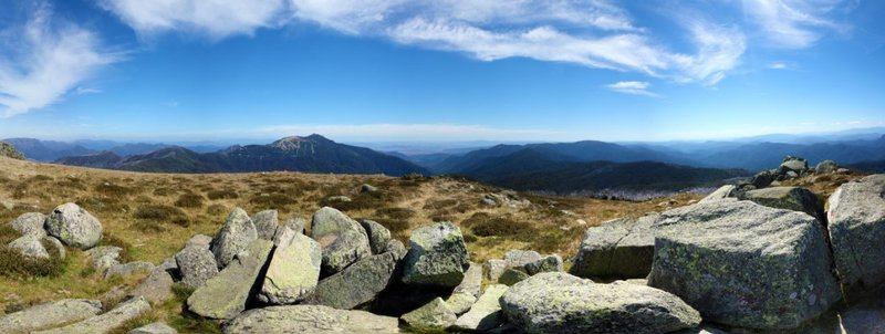 View from Mt Stirling to Mt Buller panoramic