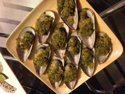 Baked Mussels with an Herbed Corn Grit