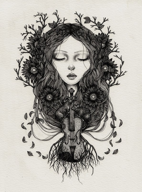 Girl in ART with VIOLIN