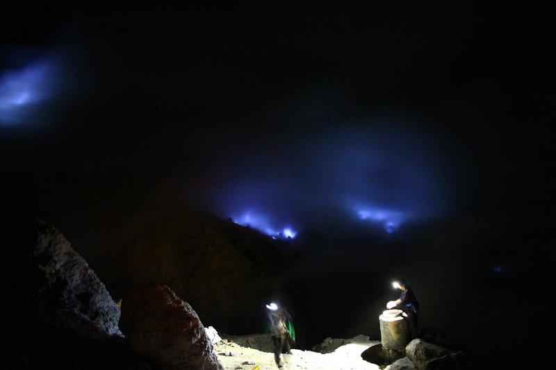 Blue fire at Ijen