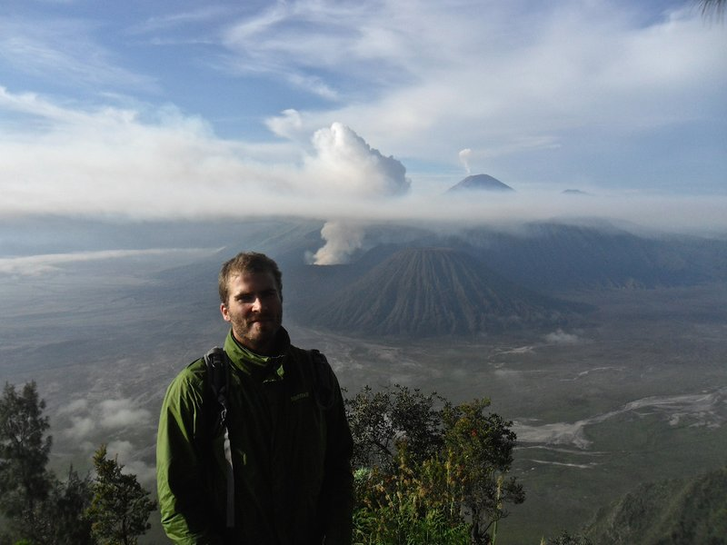 Christophe and smoking Bromo in the background