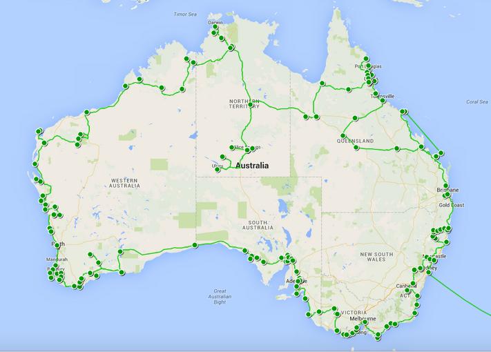 Our Australian touring route