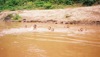 kids in mekong river!