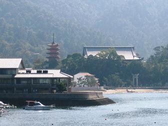 Miyajima - Pagoda and temple from the ferry