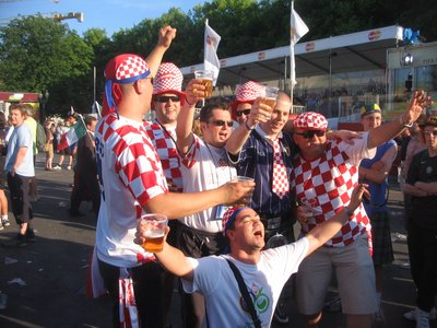 WC Berlin - Croatian fans prepare to face Brazil
