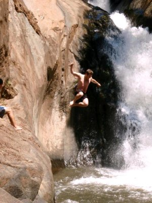 Waterfall jumping