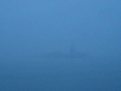 Statue of Liberty from QM2, arriving in thick fog