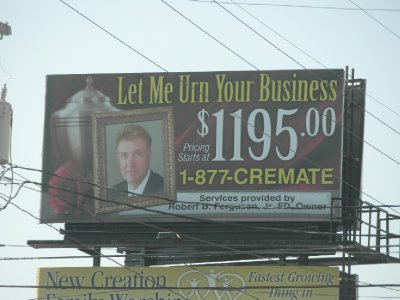 Road side billboard in small town Pennsylvania