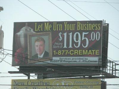 Road side billboard in small town Pennsylvania