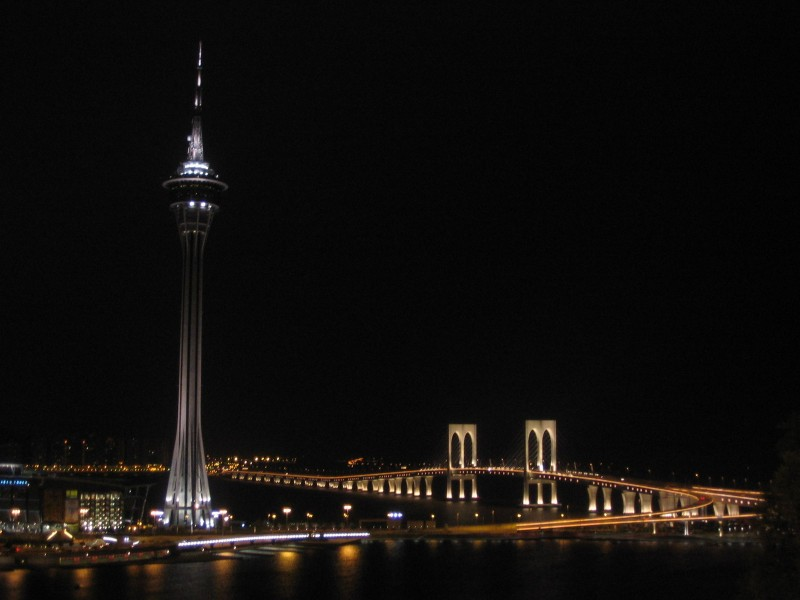 Macau - View over Macau Tower and bridge to Taipa