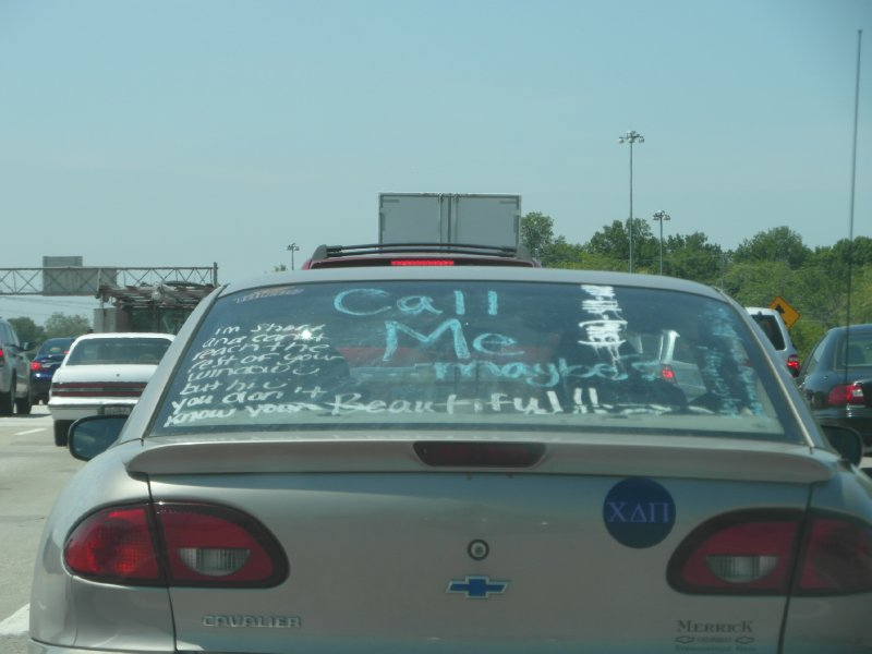 Message on car window, near Madison, Wisconsin